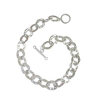 Silver bracelet solid 925 Silver hammered bracelet with toggle clasp