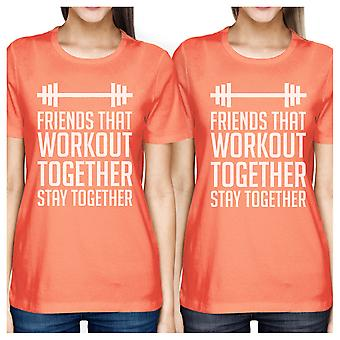 Friends Workout Together Womens Peach Funny Matching Tee Shirts