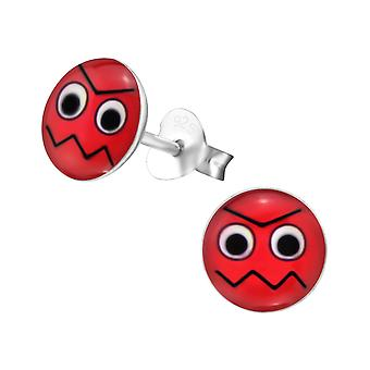 Angry Face - 925 Sterling Silver Colourful Ear Studs