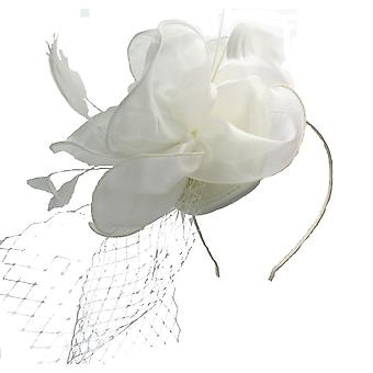 Cream Fascinator on Headband/ Clip-in for Weddings, Races and Occasions-7163