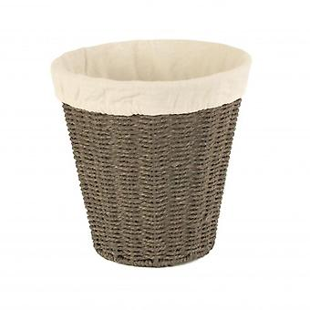 Grey Paper Rope Waste Paper Basket Cotton Lined