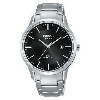 Pulsar Mens Stainless Steel Case And Bracelet Solar Black Dial PX3161X1 Watch