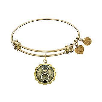 Stipple Finish Brass Engaged Angelica Bangle Bracelet, 7.25