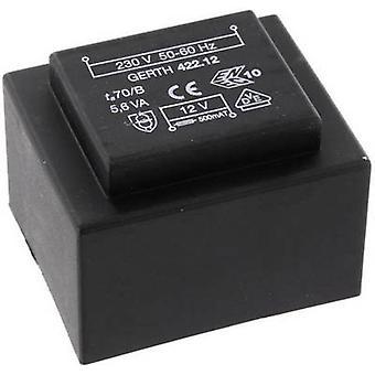PCB mount transformer 1 x 230 V 1 x 18 V AC 5.60 VA 311 mA PTB421801 Gerth