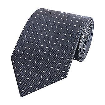 Knytte slips slips slips 8cm antrasitt grå Fabio Farini hvit prikkete