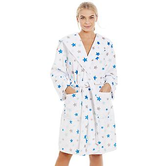 Camille White Supersoft Fleece Blue And Grey Star Bathrobe