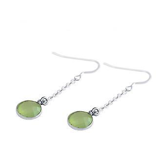 Ladies - earrings - earrings - 925 Silver - chalcedony - sea green - 2 cm