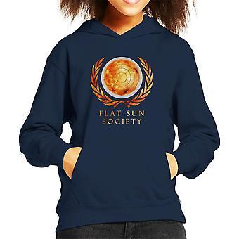 平らな太陽社会子供のフード付きスウェット シャツ