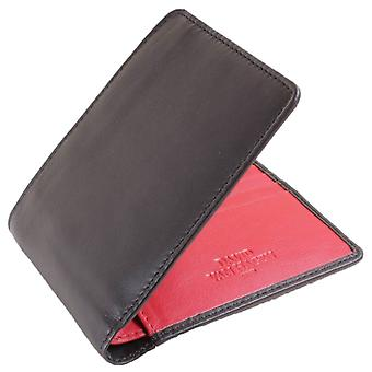 David Van Hagen Contrast 8 Card Bifold Wallet - Black/Red