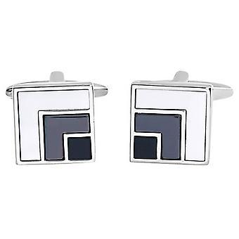 David Van Hagen madre cuadrados brillantes de Hematites perla y gemelos de diseño de Onyx - blanco/gris/negro