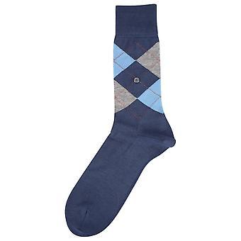 Burlington Manchester chaussettes à losanges - bleu / gris / orange