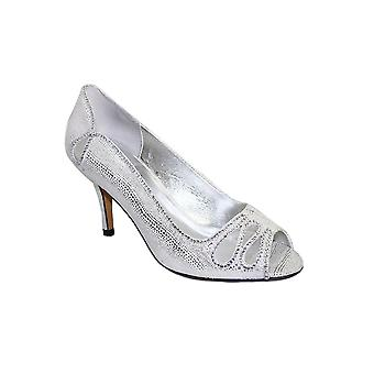 FLR237 Rene Peep Toe Metallic Diamante Mesh Slip On Court Shoe Heels Clutch