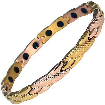 MPS® två guld rostfritt stål ADANA magnetiska armband + gratis storleksändring verktyg