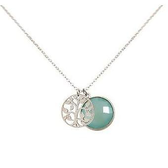 Ladies - necklace - pendants - tree of life - 925 Silver - chalcedony - sea green - 45 cm