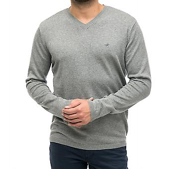 MUSTANG of classic men's V-neck sweater grey