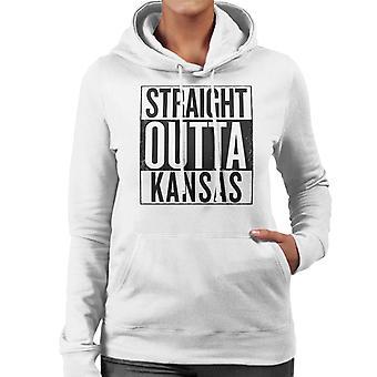 Texto negro recto Outta Kansas nos dice sudadera con capucha de mujer