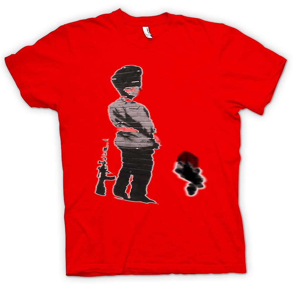 Camiseta para hombre - arte de la pintada Banksy - soldado