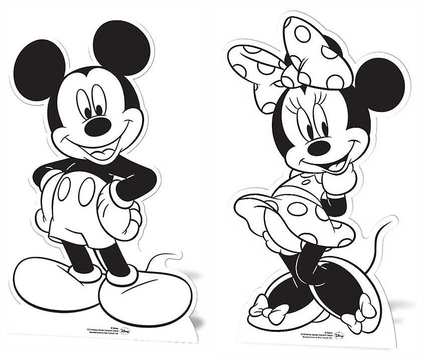Mickey Mouse and Minnie Mouse Set of 2 Colour and Keep Cardboard Cutouts / Standups / Standees