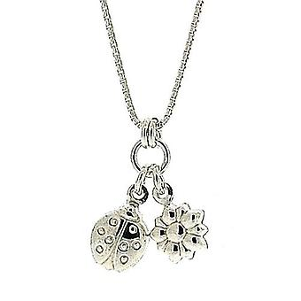 TOC Girls Sterling Silver Ladybird & Flower Charm Pendant Necklace 14