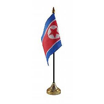 North Korea Table Flag with Stick and Base