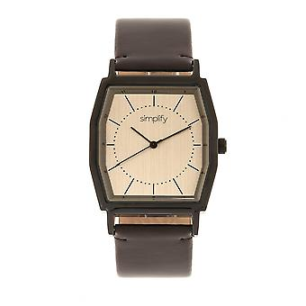Simplify The 5400 Leather-Band Watch - Bronze/Dark Brown