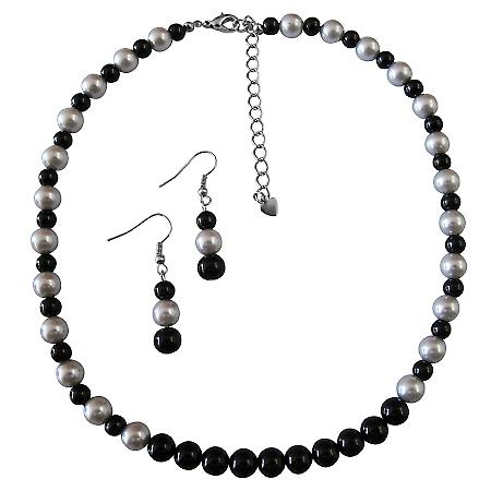 Fabulous Gift Wedding Silver & Black Dress Jewelry Pearls Necklace Set