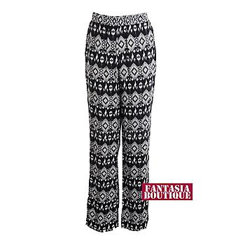 New Ladies Elastic Waist Black Cream Tribal Print Flare Women's Trousers