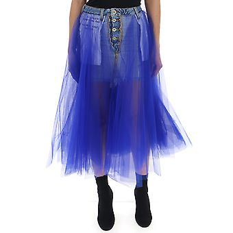 كشف تنورة الجينز الزرقاء