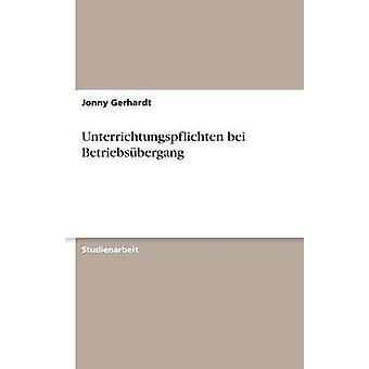 Unterrichtungspflichten Bei Betriebsbergang durch Gerhardt & Jonny