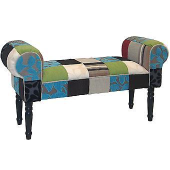Pluszowe Patchwork - Shabby Chic Chaise PUFA taboret drewna nogi - niebieski / zielony / czerwony