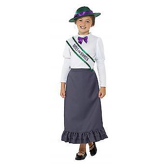 Niños feministas victorianos traje traje de sufragio de las mujeres victorianas de carnaval chicas