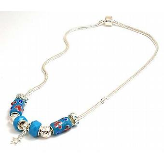 TOC BEADZ Branded Star Blue Bead Necklet - 45cm