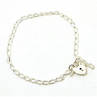 The Olivia Collection 925 4.3Gram Silver Heart Padlock Charm Bracelet