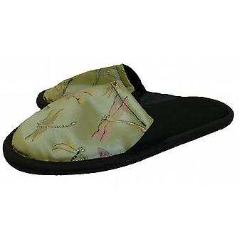 Ladies Kimono Gardenia Scent Satin Slippers: Green Tea