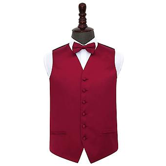 Burgundy Plain Satin Wedding Waistcoat & Bow Tie Set