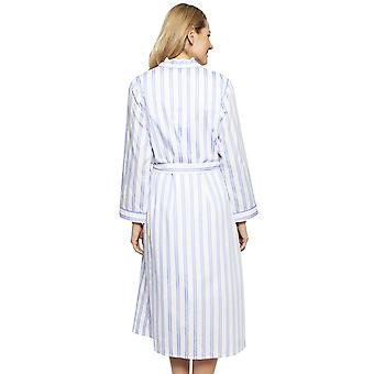 Cyberjammies 1321 Women's Nora Rose Thea Blue Mix Striped Cotton Long Robe