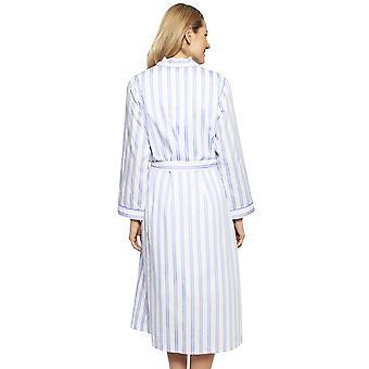 Cyberjammies 1321 vrouwen Nora Rose Thea Blue mix gestreepte katoenen lange mantel