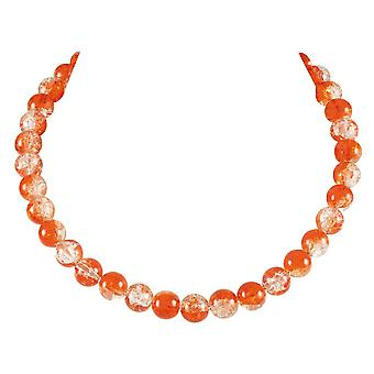 Eternal Collection Carnival Orange Czech Glass Crackle Bead Silver Tone Necklace