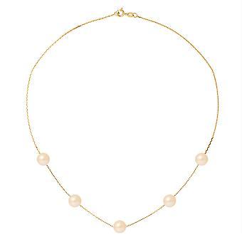 Kvinders hals krave 5 ferskvandsperler roser 7 mm AA og gul guld 750/1000