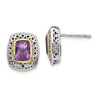 925 Sterling Silver With 14k Antiqued Amethyst Post Earrings - 2.00 cwt