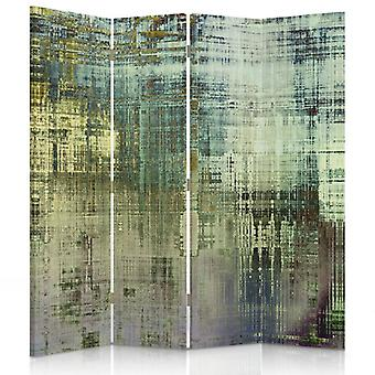 Room Divider, 4 Panels, Double-Sided, Rotatable 360, Canvas, Abstract - Green Fantasy
