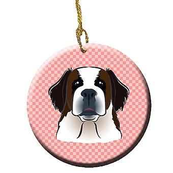 Sjakkbrett rosa Saint Bernard Ceramic Ornament BB1246CO1