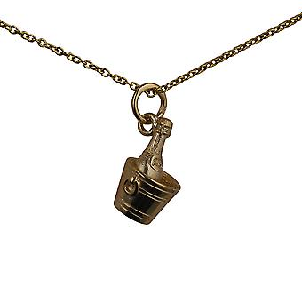 9ct Gold 15x9mm Champagne in a Ice Bucket Pendant with a cable Chain 16 inches Only Suitable for Children