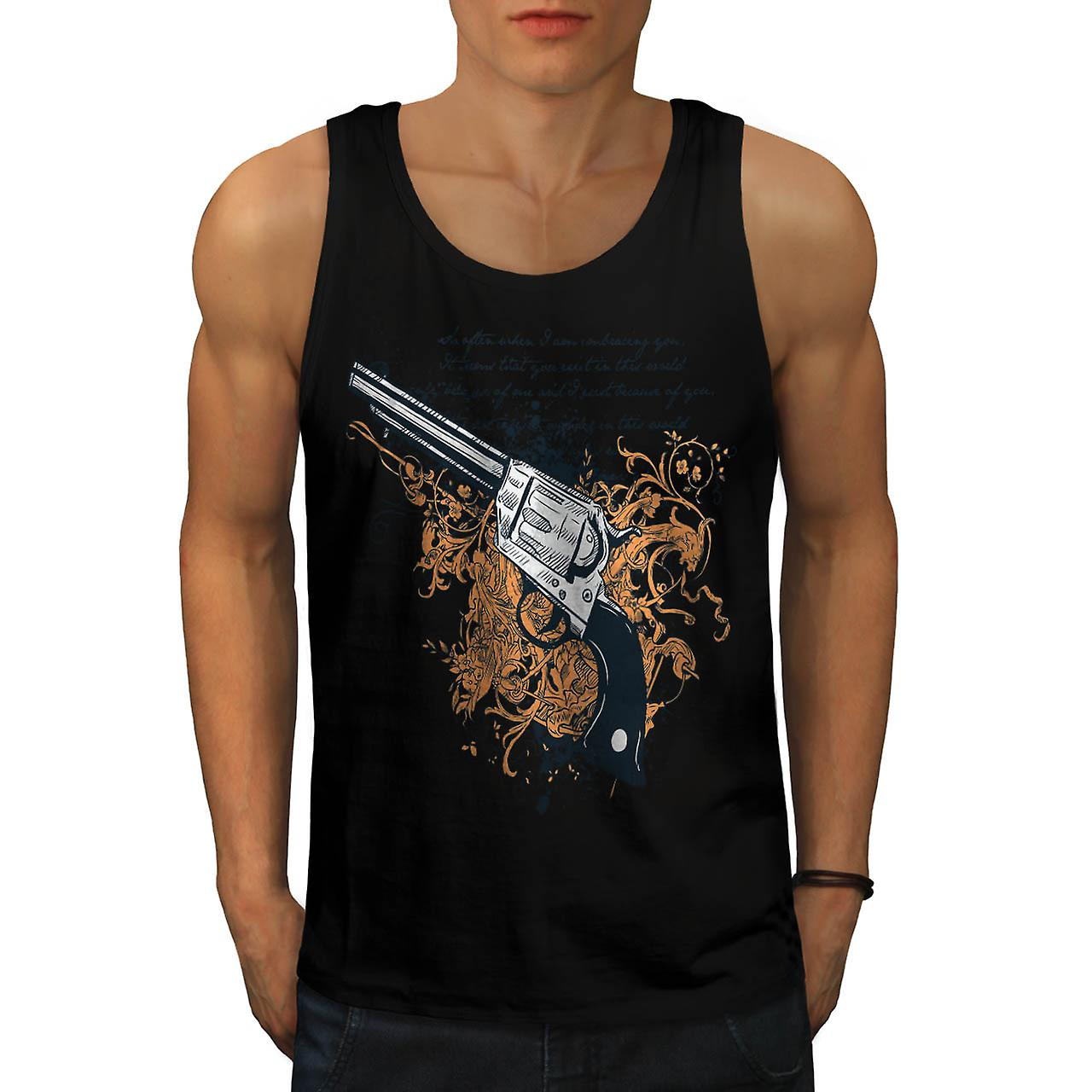 Deadly Weapon Pistol Gun Battle Men Black Tank Top | Wellcoda