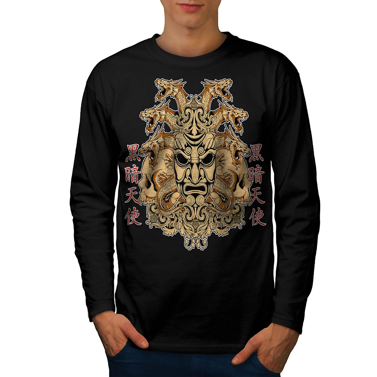 Chinese Parade Mask Horror Face Men Black Long Sleeve T-shirt | Wellcoda