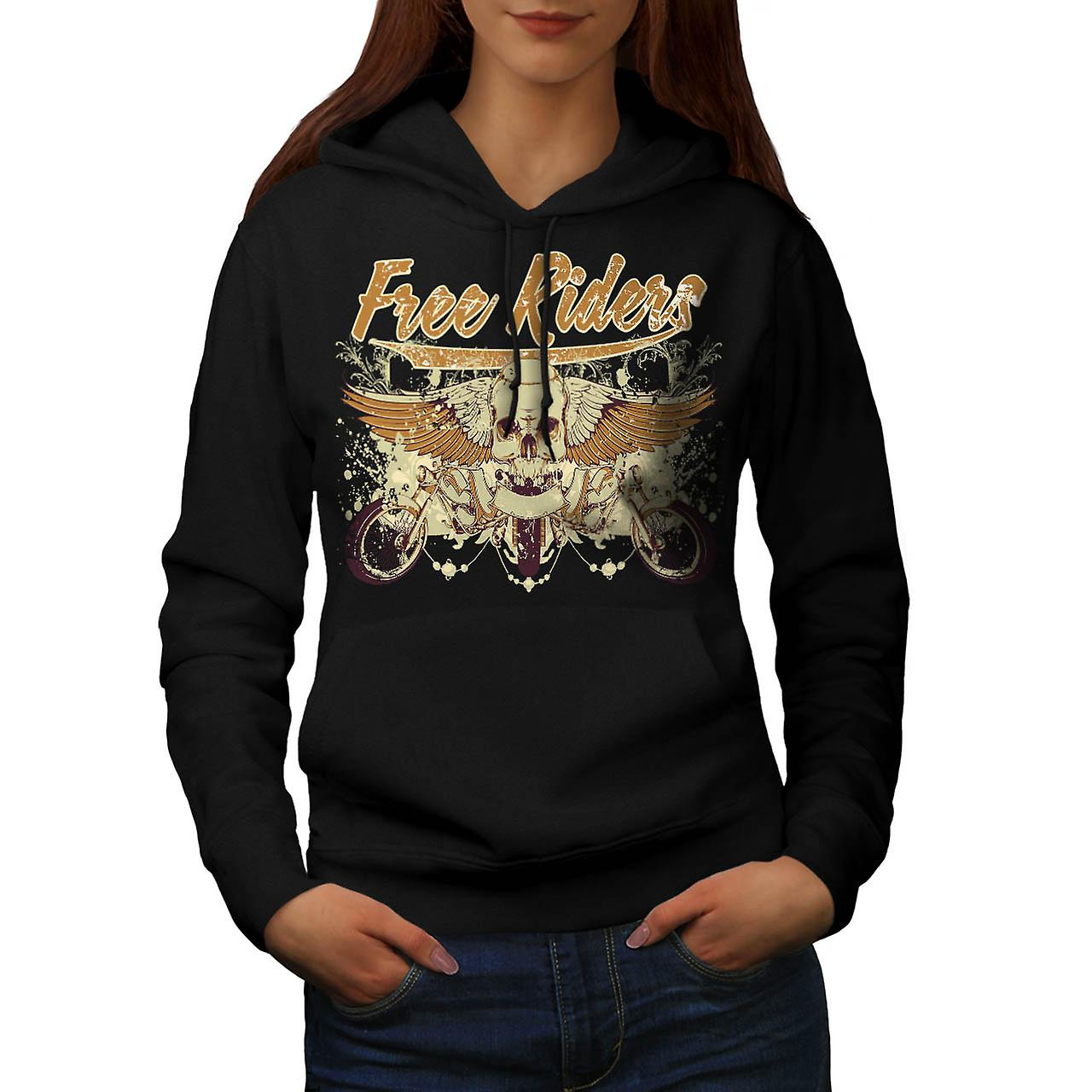 Free Rider Bike Gang Biker Life Women Black Hoodie | Wellcoda