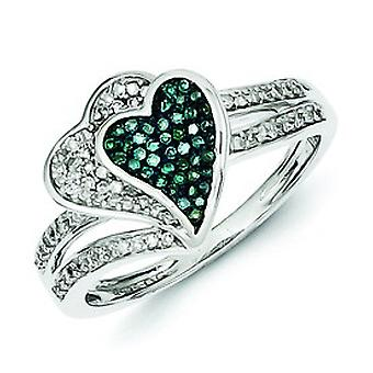 Sterling Silver Gift Boxed Rhodium-plated Rhodium Plated Blue and White Diamond Hearts Ring - Ring Size: 6 to 8