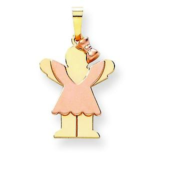 14k Two-Tone Gold Small Girl With Bow on Right Engraveable Charm - 1.5 Grams