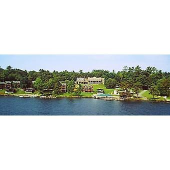 Visa från Minne Ha Ha Steamboat Lake George New York State USA affisch Skriv