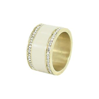 ESPRIT women's ring stainless steel gold classy glass crystal ESRG12429B1